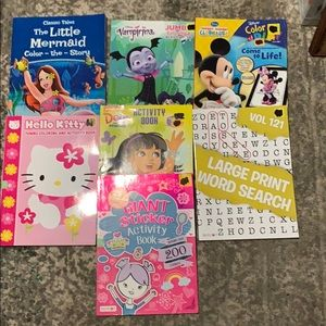 Other - 7 Girls Activity Work & Coloring Book New